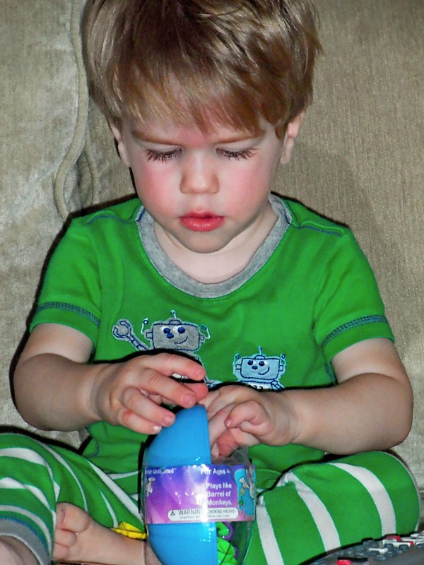 Lucas trying to get the linking bunnies out of the egg.