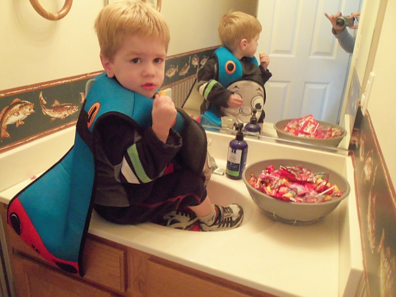 Lucas raiding the candy bowl