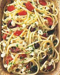 Thursday: Spaghetti with Tomatoes, Black Olives, Garlic, and Feta Cheese