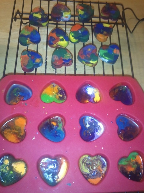 Making Heart Shaped Crayons