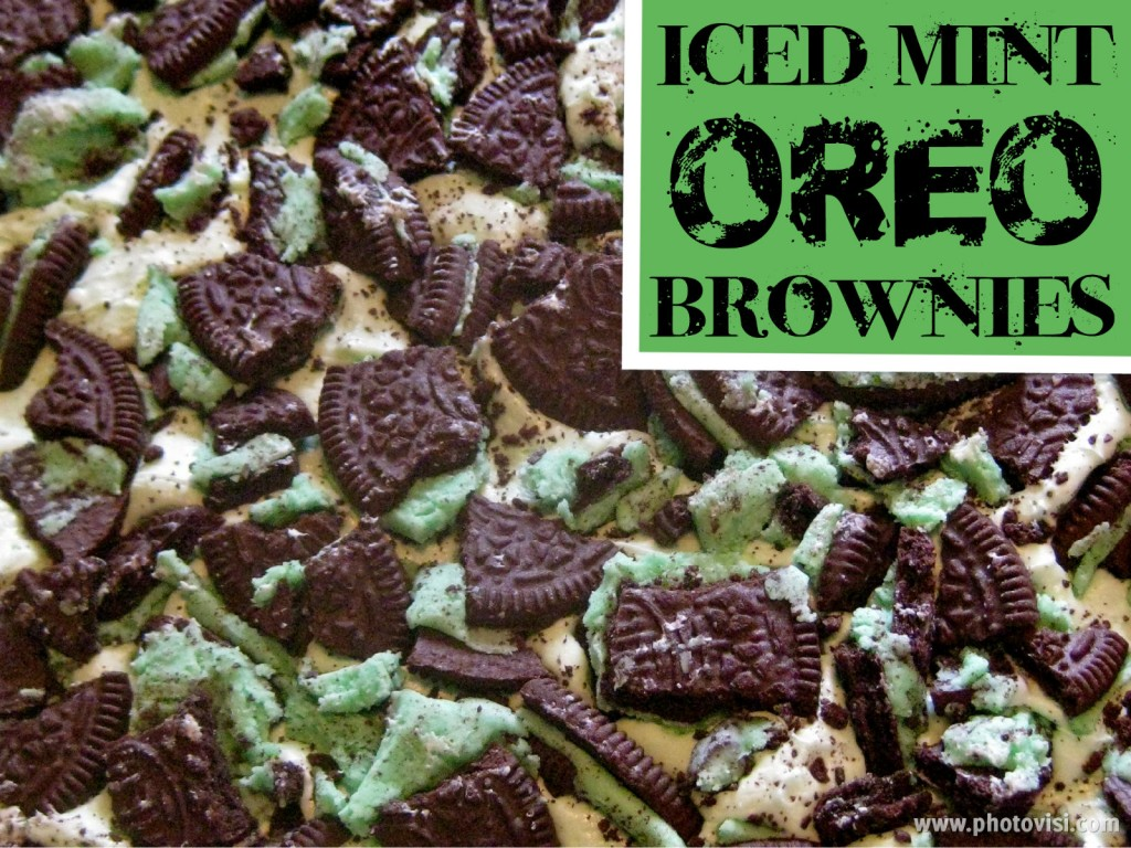 iced mint oreo brownies