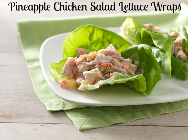 Pineapple Chicken Salad Lettuce Wraps {Recipe}