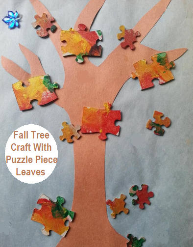 Fall Tree Craft With Puzzle Piece Leaves