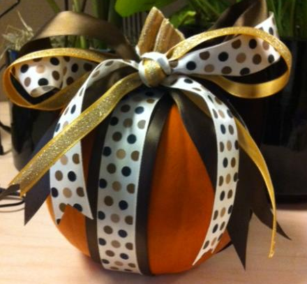 Decorating Pumpkins With Ribbons