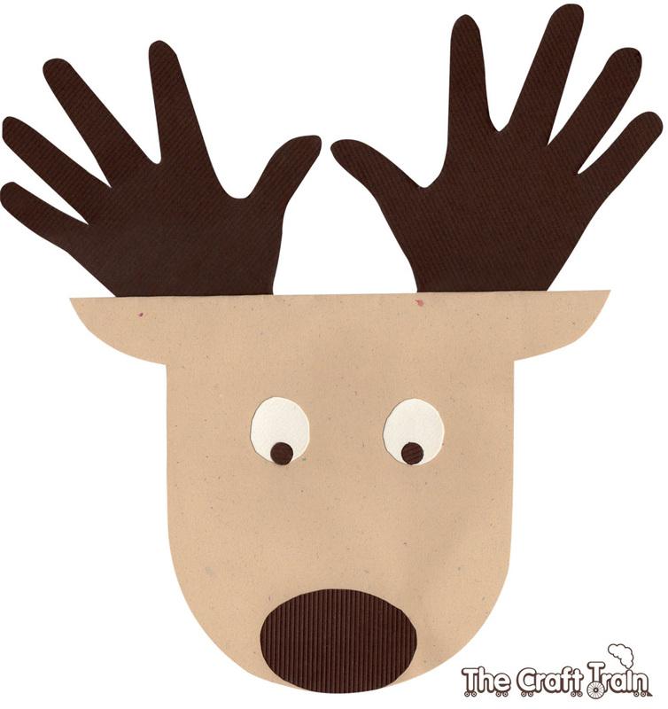 reindeer tail template - 10 handprint footprint christmas crafts for kids