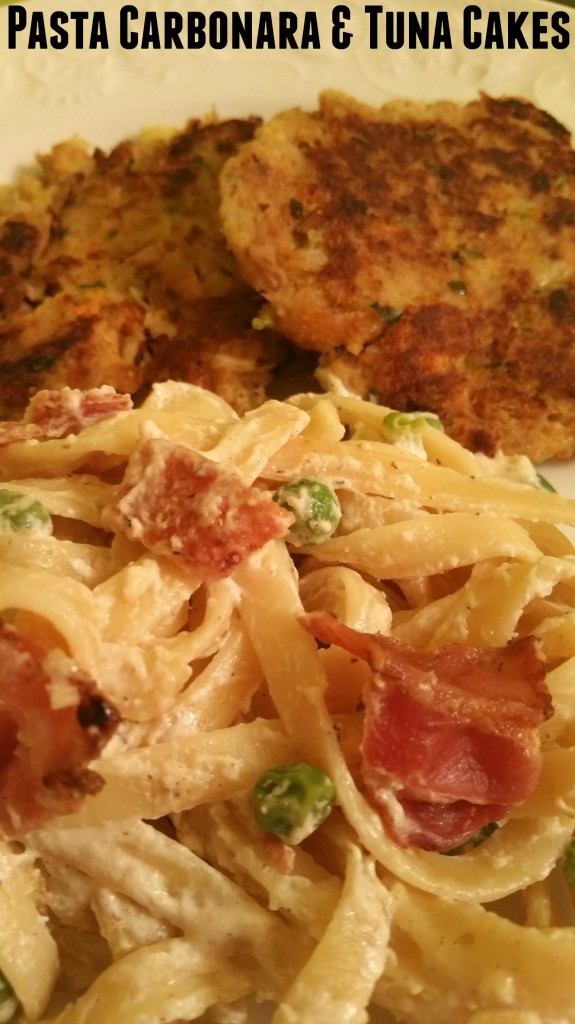 pasta carbonara and tuna cakes