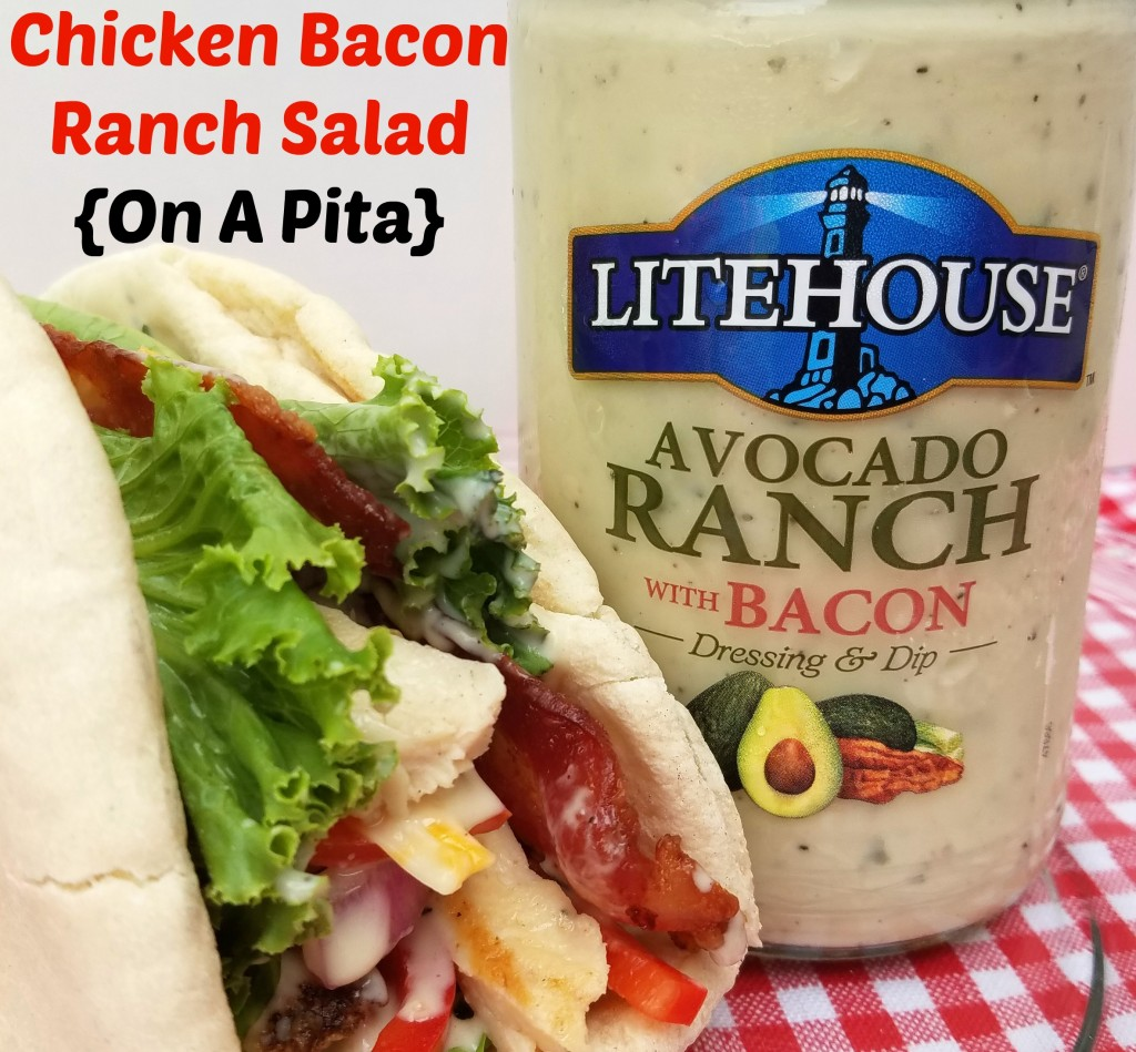 Chicken Bacon Ranch Salad On A Pita